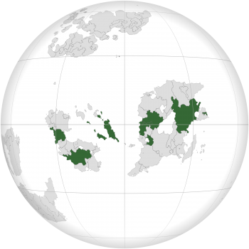 Map of Outernatia with OU members highlighted in green
